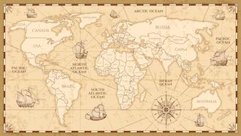 Vector antieke wereldkaart met landengrenzen