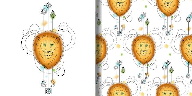 Vector aquarel lendenen print en naadloos patroon