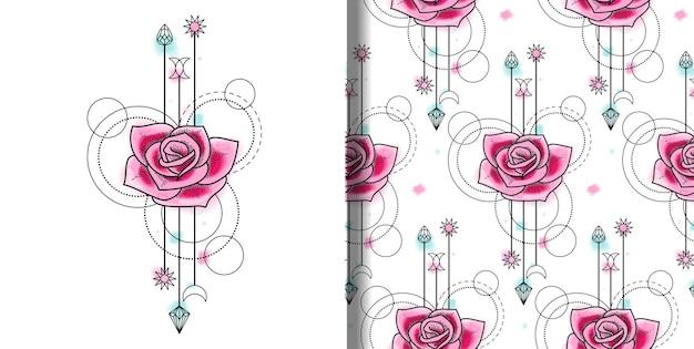 Vector aquarel roos print en naadloos patroon