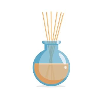 Vector aromatische diffuser met geurende olie en riet