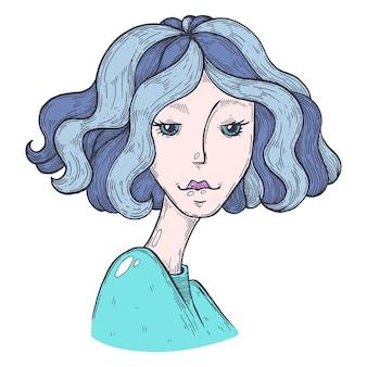 Vector artistieke illustratie handgemaakt gemaakt met pen en inkt cartoon gezicht van een meisje