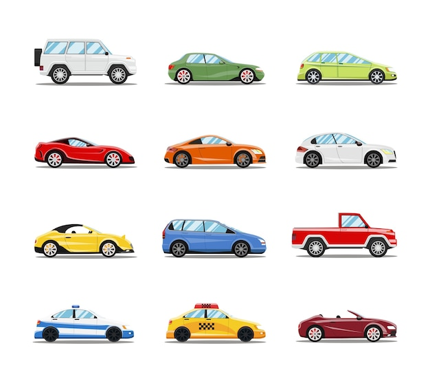 Vector auto's collectie. voertuigen in vlakke stijl