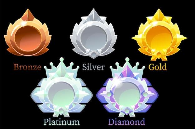 Vector awards medailles goud, zilver, brons, platina en diamant.