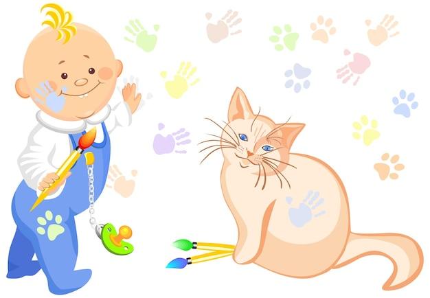 Vector babyjongen en een kat tekening
