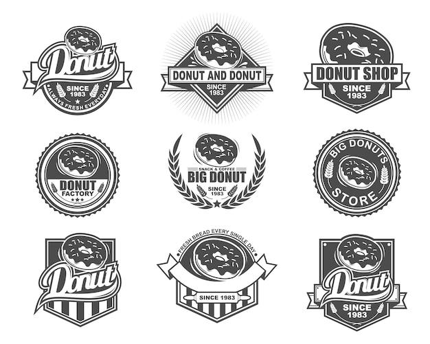 Vector badge design collectie set voor donut store