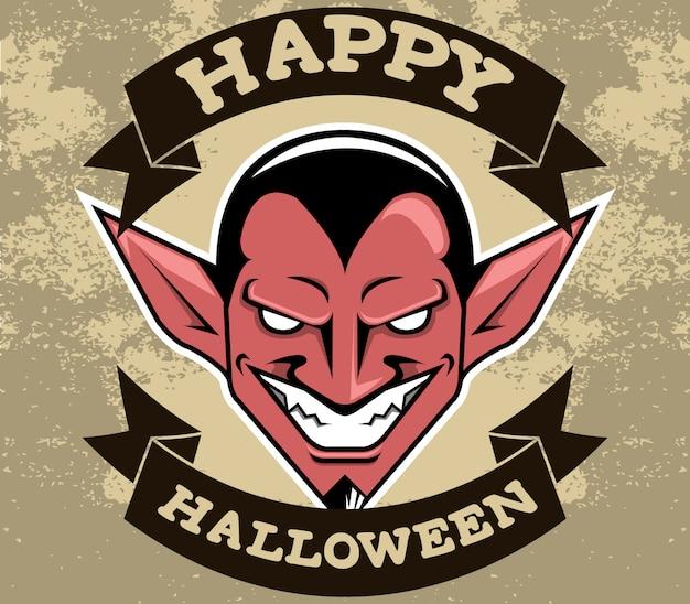 Vector badge illustratie van lachende duivel. textuur achtergrond.