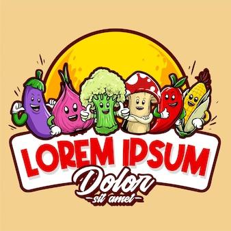 Vector badges van groenten mascotte karakterontwerp