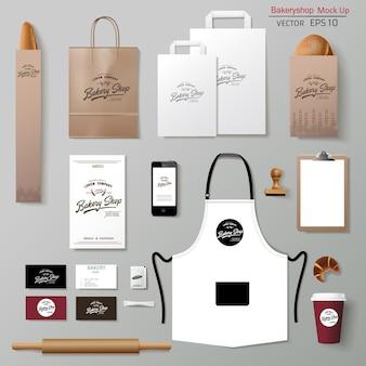 Vector bakkerij corporate branding identiteit sjabloon ontwerpset. mock-up weghalen