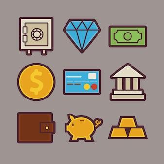Vector bank en geld items moderne plat icons set. bank- en financiële app web elements-collectie. inkomsten en besparingen. kleurrijke elementen voor mobiele games en webapplicaties