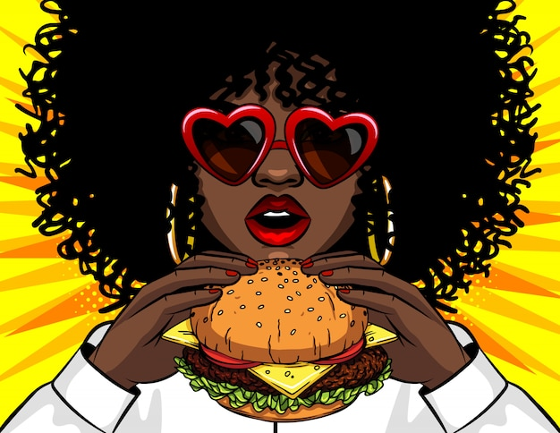Vector banner afrikaanse amerikaanse vrouw die een hamburger eet. strip cartoon popart retro vector illustratie tekening vrouwelijke handen met een lekker broodje