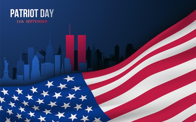 Vector banner ontwerpsjabloon met amerikaanse vlag en skyline van new yorkrk