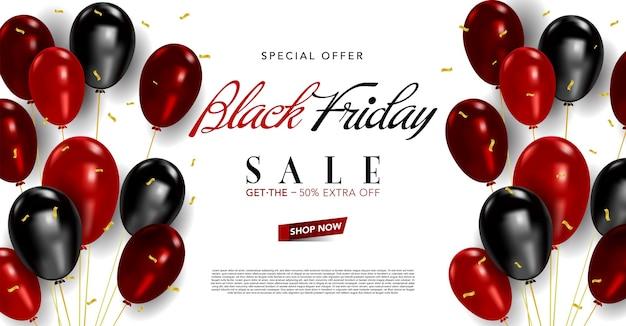 Vector banner sjabloon zwarte vrijdag met ballonnen en confetti, zwarte vrijdag poster