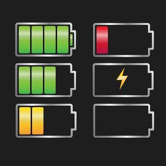 Vector batterijlader ingesteld batterijpictogram vol en leeg d batterijteken