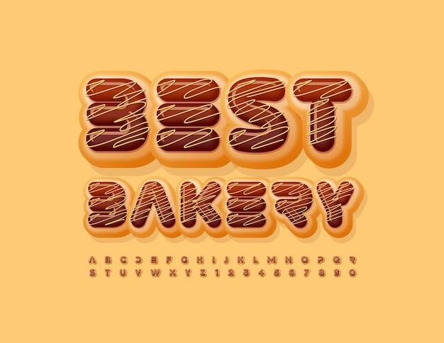 Vector bedrijfslogo beste bakkerij chocolade geglazuurd lettertype zoete alfabetletters en cijfers set