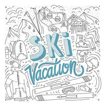 Vector berg ski en stokken gedetailleerd op witte achtergrond aalpine ski concept