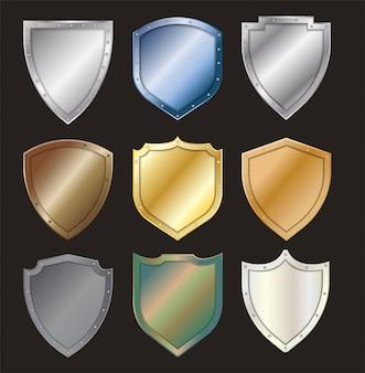 Vector beschermde stalen schild staal pictogram teken set