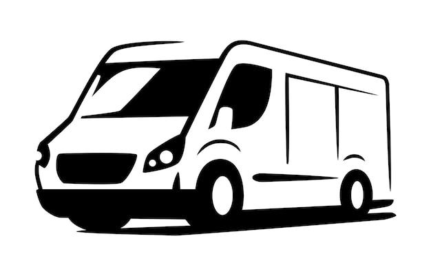 Vector bestelwagen minibus voor snelle levering logo