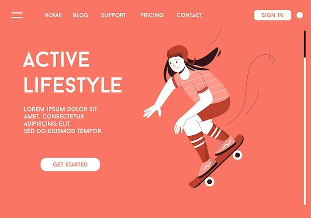 Vector-bestemmingspagina van active lifestyle-concept.
