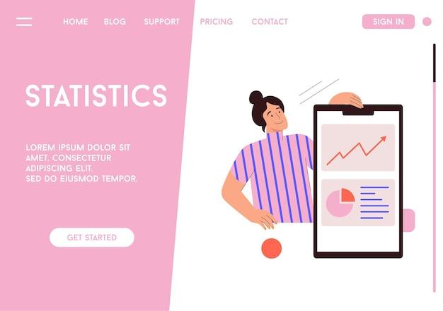 Vector bestemmingspagina van statistieken concept