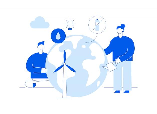 Vector bewaar de planeet webpagina-banner