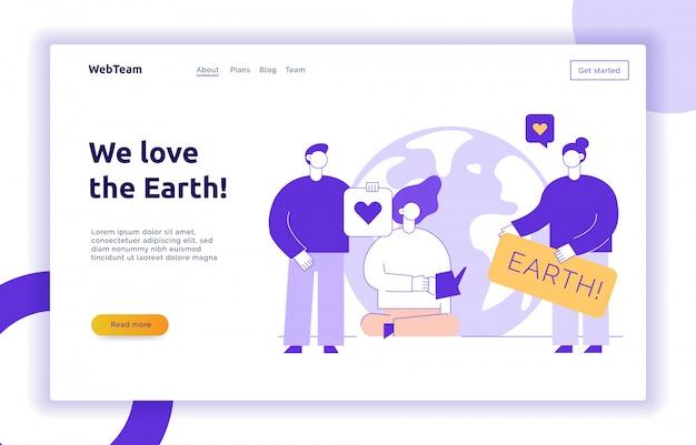 Vector bewaar de planeet webpagina-sjabloon voor spandoekontwerp