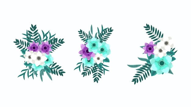 Vector, bewerkbare bloemen boeket arrangement illustratie collectie. stijlvolle, elegante tuinbloemen, prachtig groen. geïsoleerde arrangementen ontwerpelementen voor bruiloften, textiel, stof, kleding