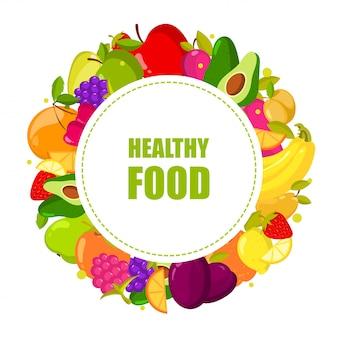 Vector biologisch fruit frame geïsoleerd. banner met natuurlijke verse voedselillustratie