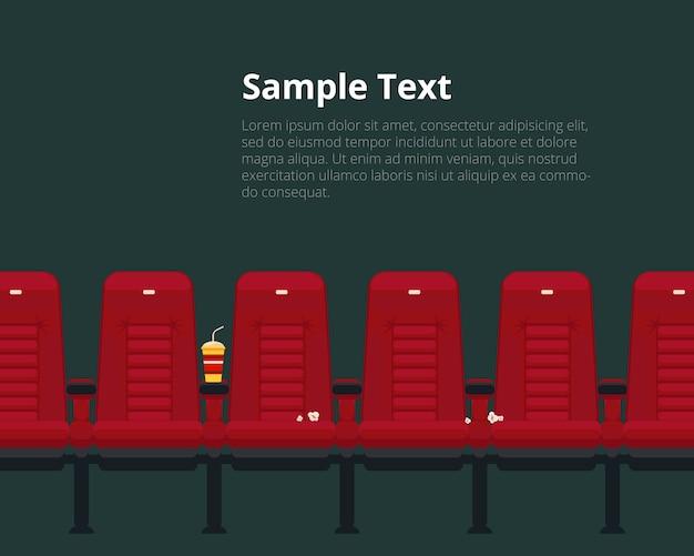 Vector bioscoop stoelen sjabloon met voorbeeldtekst in vlakke stijl.