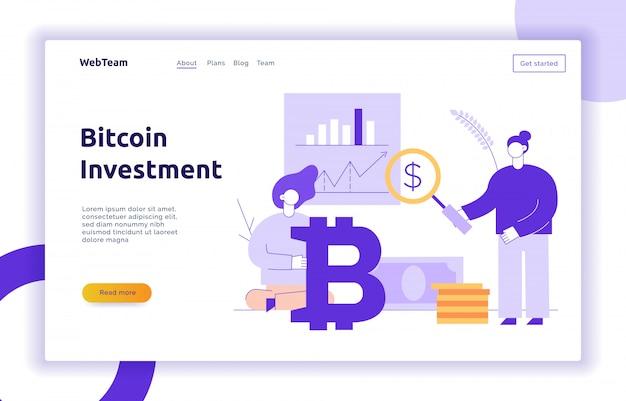 Vector bitcoin investeringen moderne platte lijn illustratie
