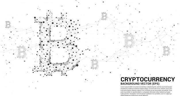 Vector bitcoin pictogram van polygon dot connect line. concept voor cryptocurrency-technologie