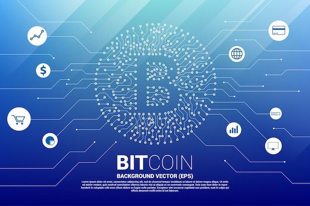 Vector bitcoin pictogram van printplaat stijl dot verbinden lijn met functionele pictogram.