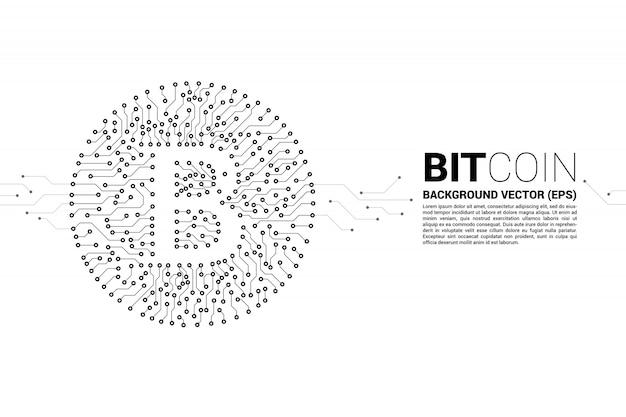 Vector bitcoin pictogram van printplaat stijl dot verbinden lijn.