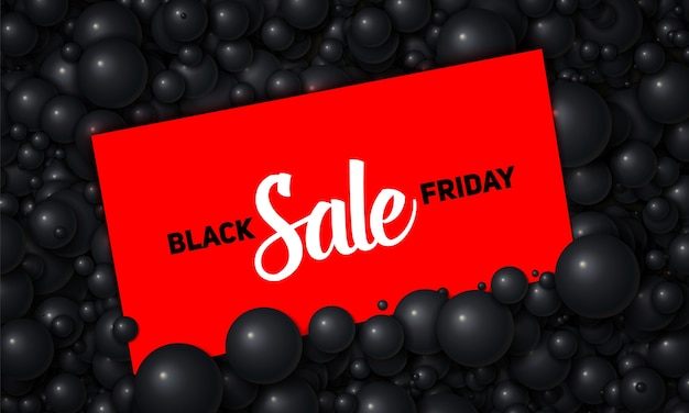 Vector black friday sale illustratie van rode kaart geplaatst in zwarte parels of bollen