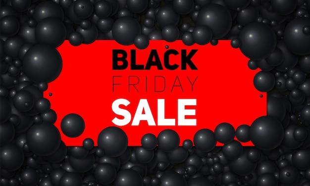 Vector black friday-verkoopillustratie van witte kaart die in witte parels of bollen wordt geplaatst