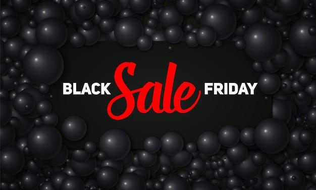 Vector black friday-verkoopillustratie van zwarte kaart die in zwarte parels of bollen wordt geplaatst