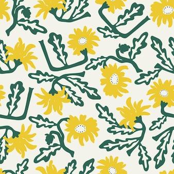 Vector blauwe afrikaanse madeliefje bloem illustratie motief naadloze herhaling patroon mode stof textiel