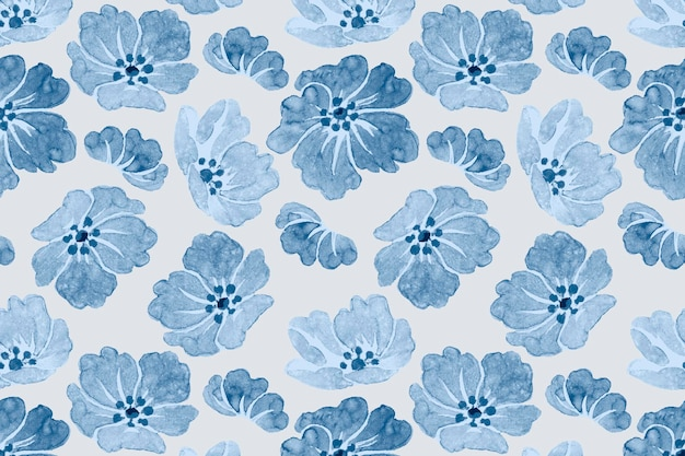 Vector blauwe bloemmotief vintage achtergrond