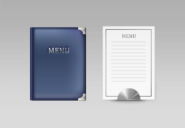 Vector blauwe café menuboekhouder en witte kaart bovenaanzicht geïsoleerd op een grijze achtergrond