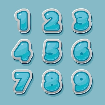 Vector blauwe cijfers voor grafisch en game-design