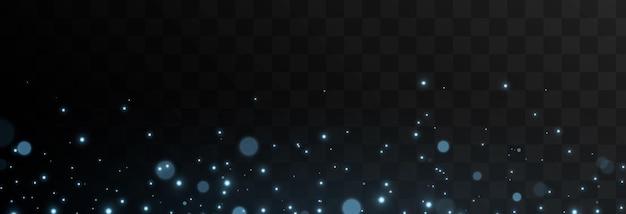 Vector blauwe lichtdeeltjes magische stofverblinding png magische gloed blauw licht sterren ruimte lucht
