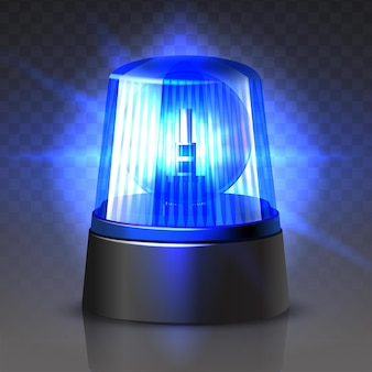 Vector blauwe politieauto bovenlicht gloeien in het donker op zwart