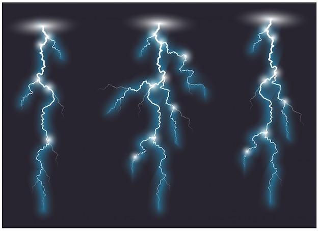 Vector blauwe schuine vertakte bliksemlijnen. vector illustratie.