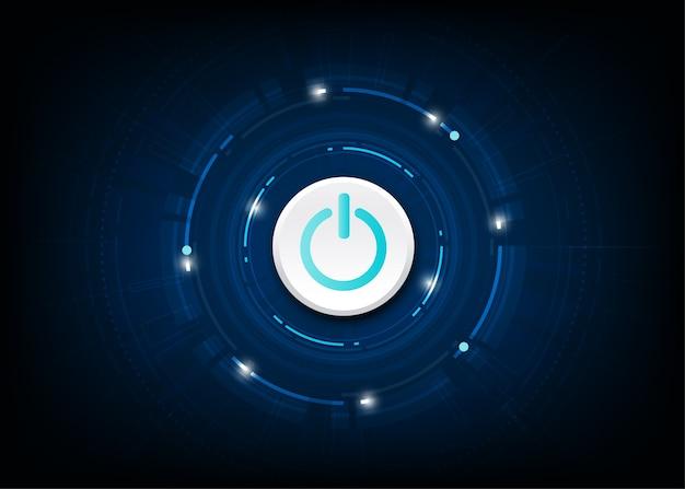 Vector blauwe / uit-knop op technische achtergrond.