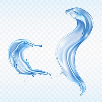 Vector blauwe waterplonsen die op transparante achtergrond worden geïsoleerd