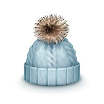 Vector blauwe winter gebreide muts met pom-pom zijaanzicht geïsoleerd op een witte achtergrond