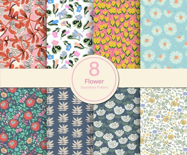 Vector bloem botanische thema illustratie 8 soorten herhalen patroon collectie set keuken print