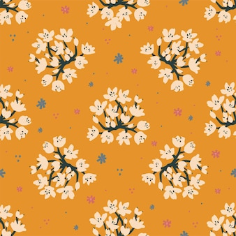 Vector bloem illustratie motief naadloze herhaling patroon licht paars blauwe achtergrond