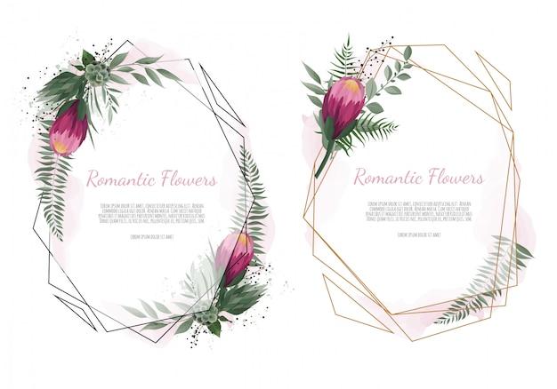 Vector bloemen botanisch kaartontwerp