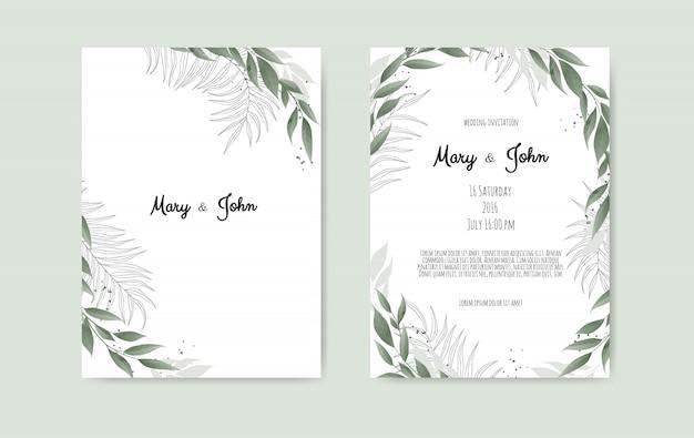 Vector bloemen bruiloft uitnodiging kaartsjabloon