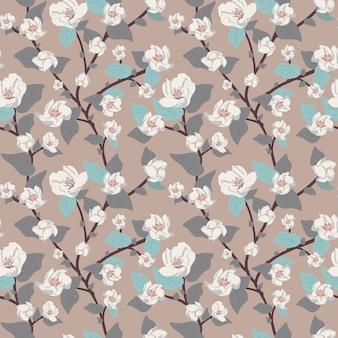 Vector bloemen naadloos patroon, gevoelige bloemen en takjes met bladeren en takken.